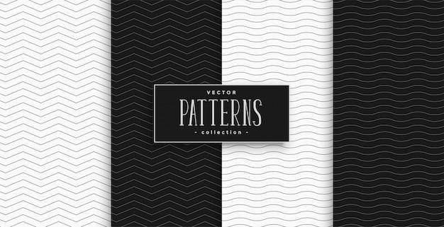 Conjunto mínimo de zigue-zague preto e branco e padrão de ondas Vetor grátis
