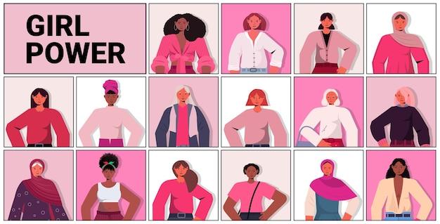 Conjunto mistura raça garotas avatares movimento de empoderamento feminino poder das mulheres união de feministas conceito ilustração vetorial retrato horizontal Vetor Premium