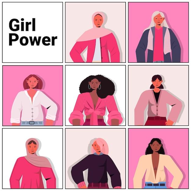 Conjunto mix raça meninas avatares movimento de empoderamento feminino união de poder feminino de feministas conceito retrato ilustração vetorial Vetor Premium