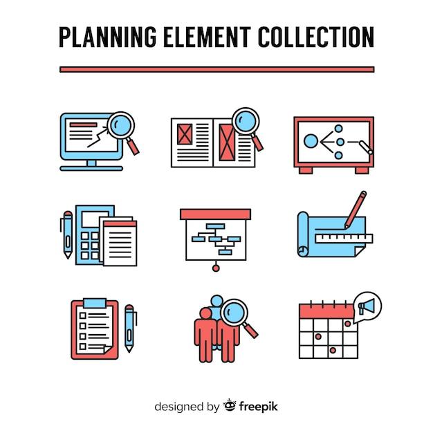 Conjunto moderno de elementos de planejamento colorido Vetor grátis