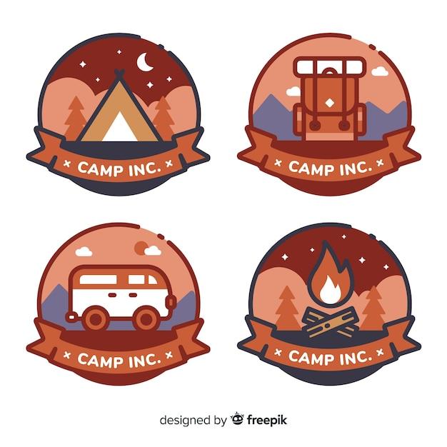 Conjunto moderno de emblemas de aventura Vetor grátis