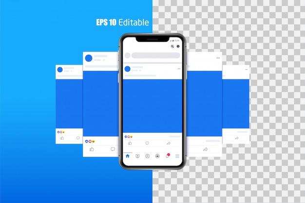 Conjunto moderno de foto de mídia social, postar quadros Vetor Premium