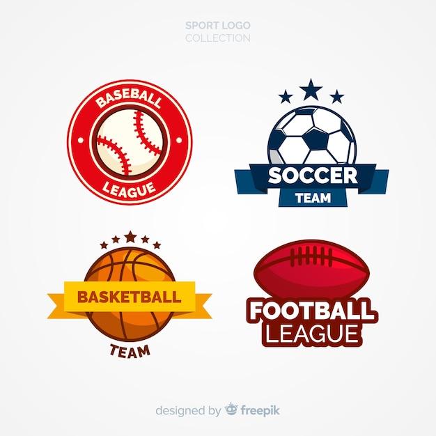 Conjunto moderno de logotipos abstratos de esportes Vetor grátis