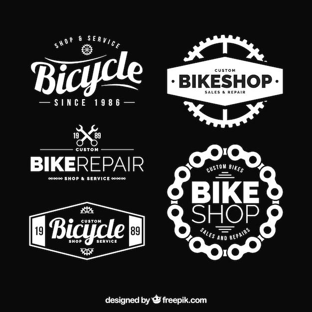 Conjunto moderno de logotipos de bicicleta elegante Vetor grátis