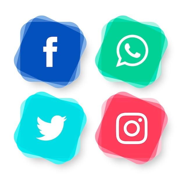 Conjunto moderno de logotipos de mídia social Vetor grátis