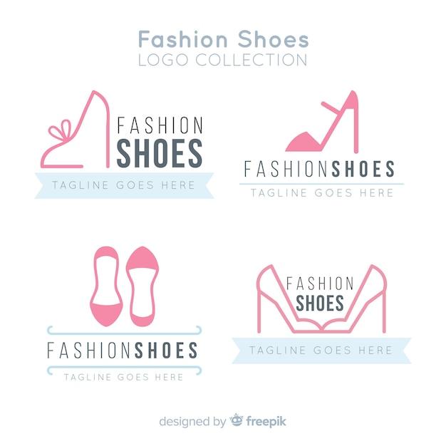 Conjunto moderno de logotipos de sapatos Vetor grátis