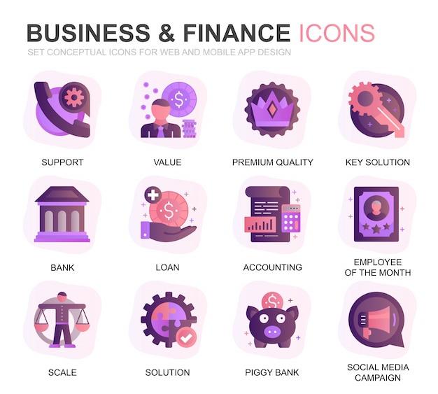Conjunto moderno de negócios e finanças plano de ícones gradientes Vetor Premium