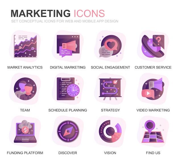 Conjunto moderno de negócios e marketing ícones planas gradientes Vetor Premium