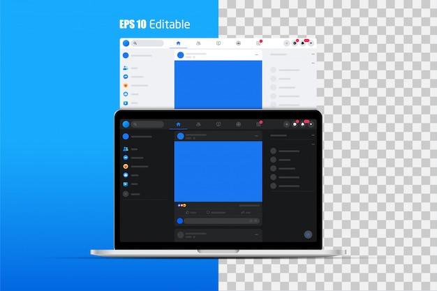 Conjunto moderno de página da web de mídia social, quadros de postagem Vetor Premium