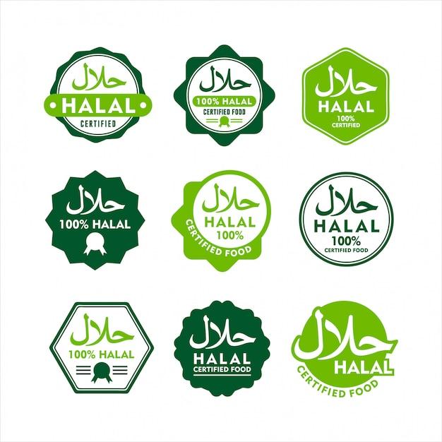Conjunto moderno de rótulo de comida halal Vetor Premium