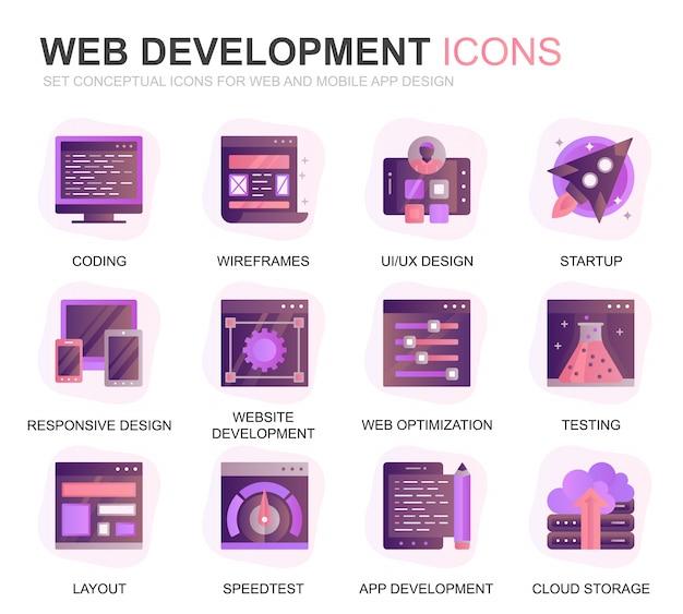 Conjunto moderno web design e desenvolvimento plano ícones planas Vetor Premium