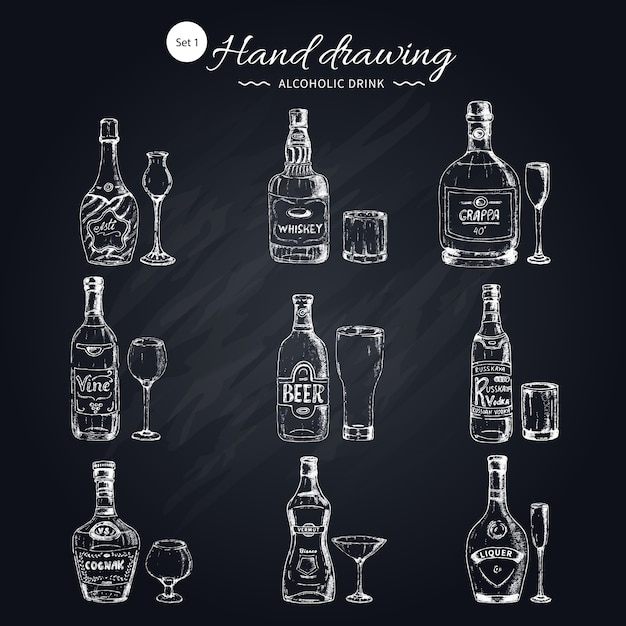 Conjunto monocromático de bebidas alcoólicas Vetor grátis