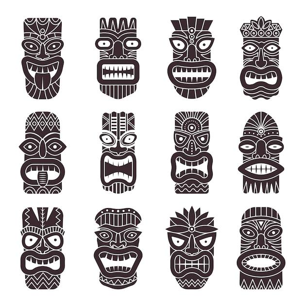 Conjunto monocromático de deus tribal tiki Vetor Premium