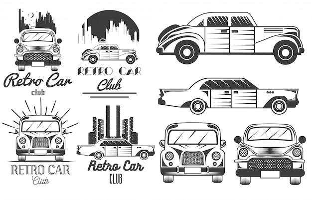 Conjunto monocromático de logotipos de clube de carro retrô Vetor Premium
