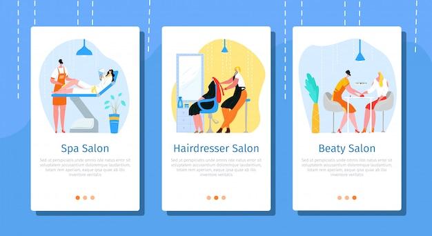 Conjunto móvel de salão de beleza, ilustração. página do site de serviços comerciais, aplicativo para cuidados com a pele, rosto e cabelo. procedimento de spa na tela, cabeleireiro estilista e personagem de pessoas mulher. Vetor Premium