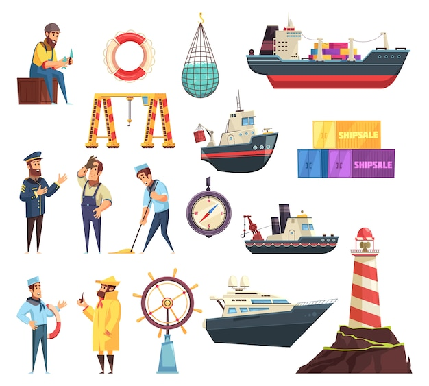 Conjunto náutico de marinheiros e navios Vetor grátis