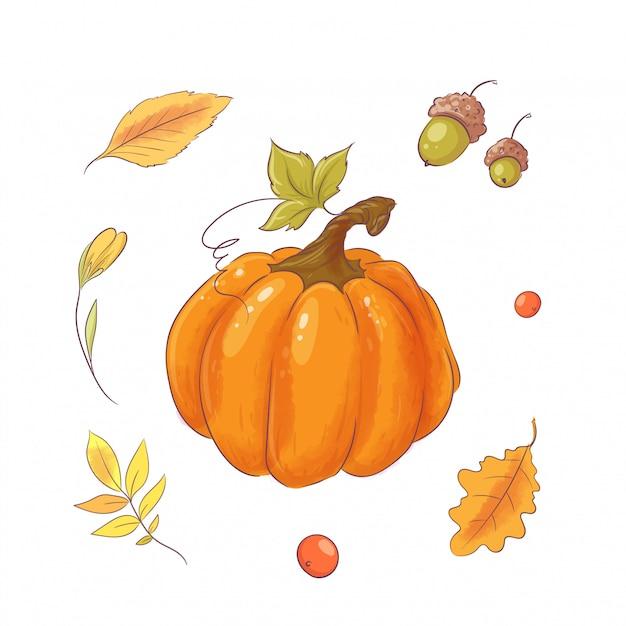 Conjunto no estilo de mão abóbora, outono e folhas de desenho. Vetor Premium