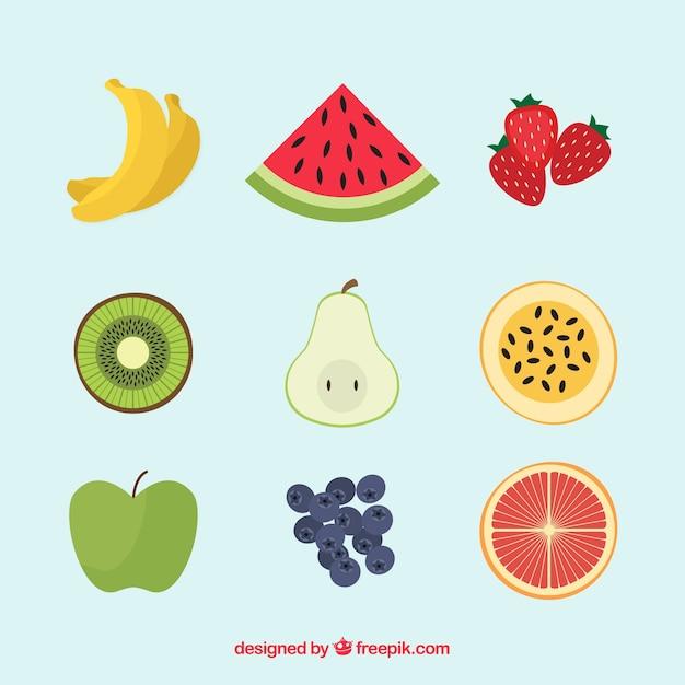 Conjunto, nove, apartamento, gostosa, frutas Vetor grátis
