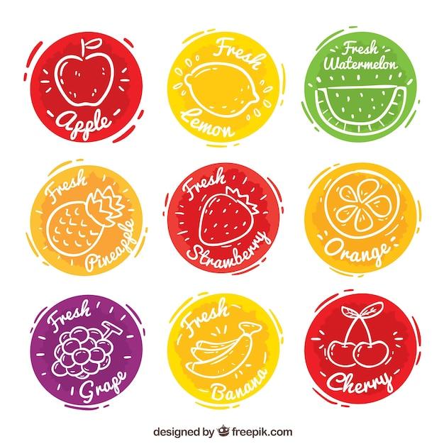 Conjunto, nove, colorido, fruta, suco, etiquetas Vetor grátis