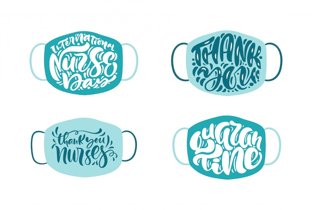 Conjunto obrigado enfermeiras letras texto de vetor em fundo branco máscara Vetor Premium