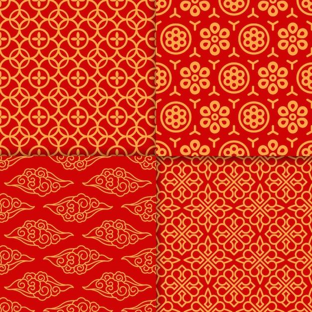 Conjunto oriental padrão vermelho Vetor Premium