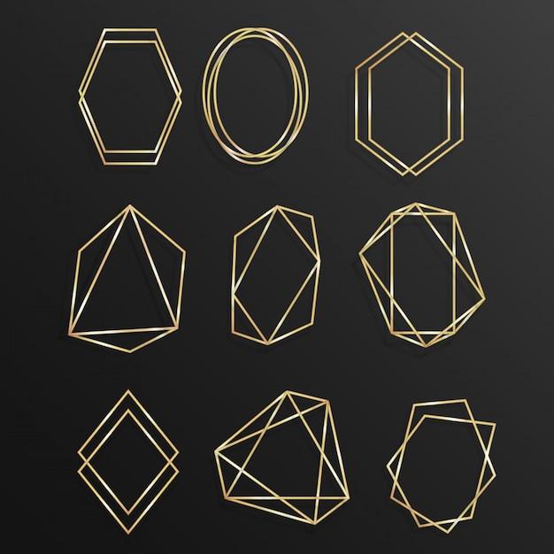 Conjunto ouro da arte de linha geométrica poliedro quadro Vetor Premium