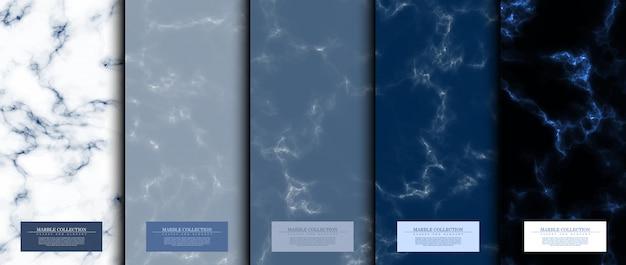 Conjunto padrão abstrato de coleção de mármore Vetor Premium