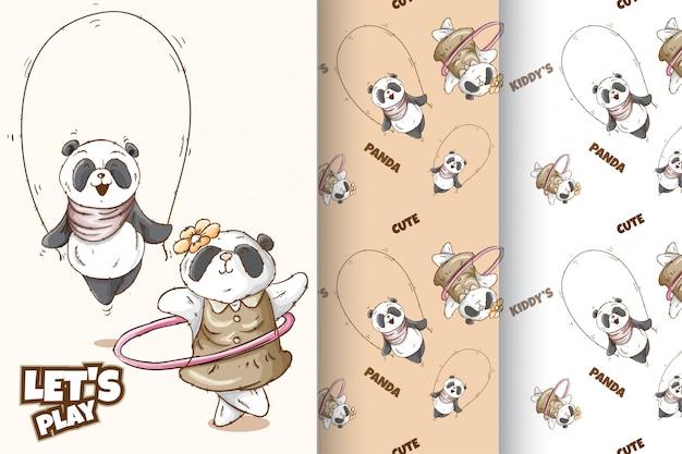Conjunto padrão de panda bonito Vetor Premium