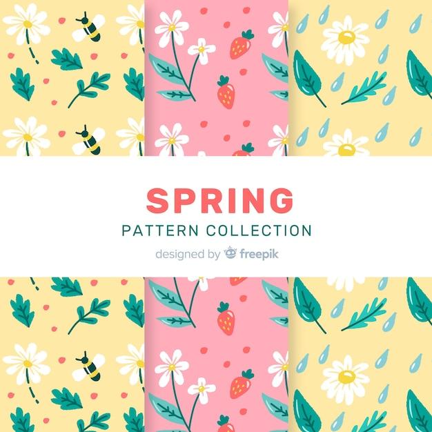 Conjunto padrão floral primavera Vetor grátis