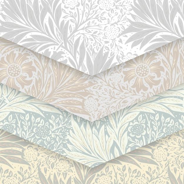 Conjunto padrão floral Vetor grátis