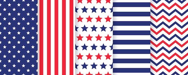 Conjunto padrão sem emenda de 4 de julho. conjunto de texturas patrióticas americanas. Vetor Premium