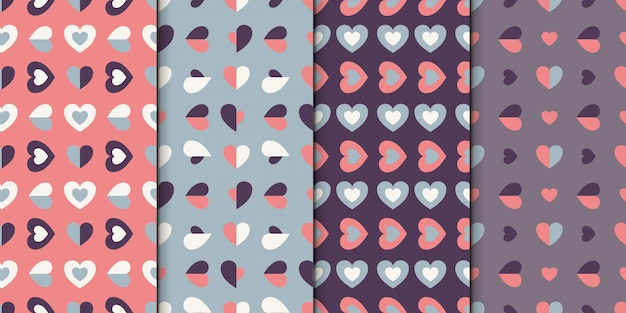 Conjunto padrão sem emenda de 4 projetos com corações. coleção padrão com pequenos corações. Vetor Premium