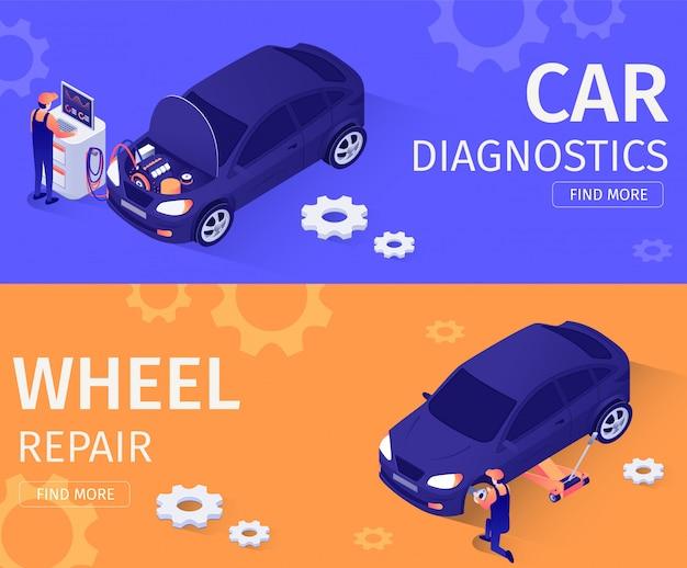Conjunto para diagnósticos de carro e serviço de reparo de roda Vetor Premium