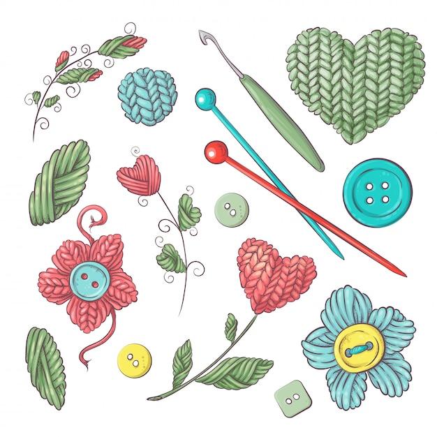 Conjunto para handmade para crochê e tricô. Vetor Premium