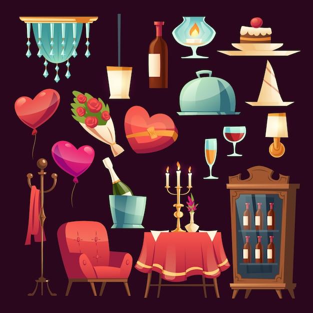 Conjunto para jantar romântico no dia dos namorados Vetor grátis