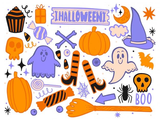 Conjunto para o halloween para o design de cenário engraçado. decoração isolada Vetor Premium