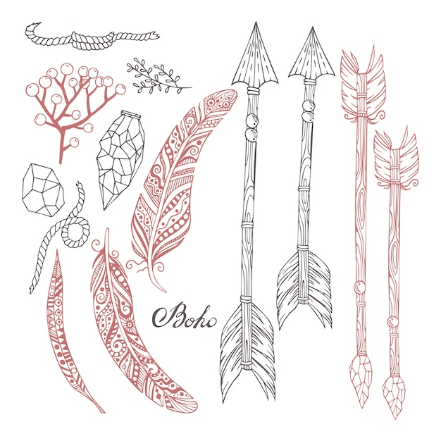 Conjunto pintado à mão no estilo boho com flechas, penas, plantas, pedras e uma corda. Vetor Premium