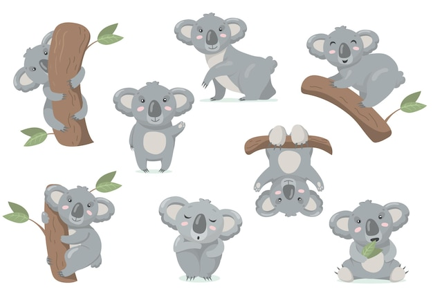 Conjunto plano adorável coala bebê. ilustração de desenho animado Vetor grátis