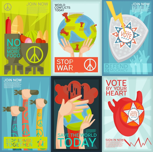 Conjunto plano colorido de cartazes de propaganda social e política Vetor grátis