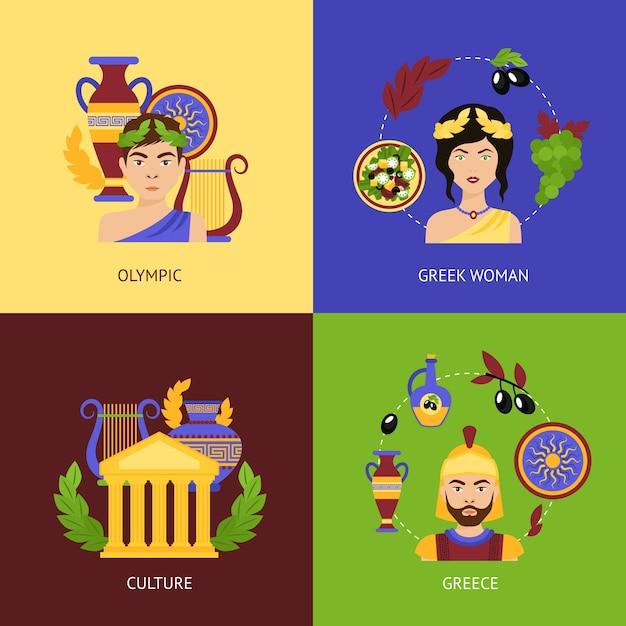 Conjunto plano da Grécia Vetor grátis