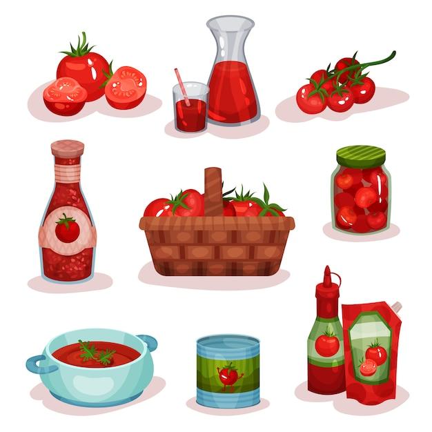 Conjunto plano de alimentos e bebidas de tomate. legumes frescos, suco em copo, sopa deliciosa em uma panela, ketchup, produtos enlatados Vetor Premium