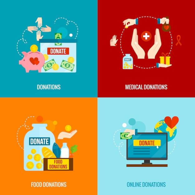 Conjunto plano de caridade Vetor grátis