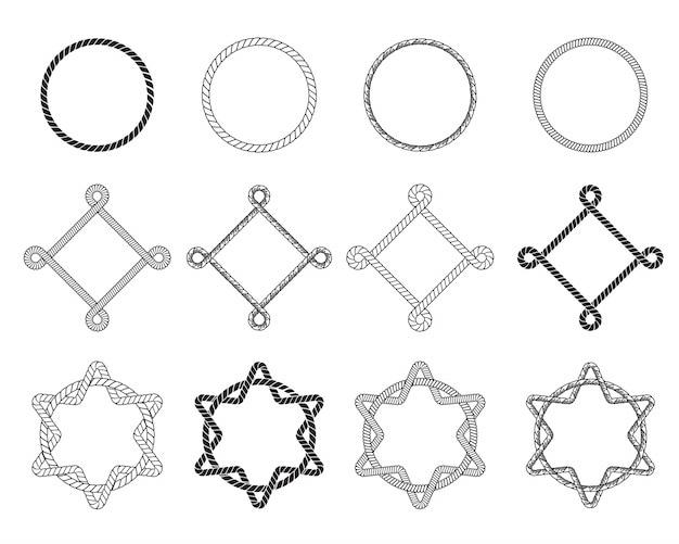 Conjunto plano de diferentes armações de corda Vetor grátis