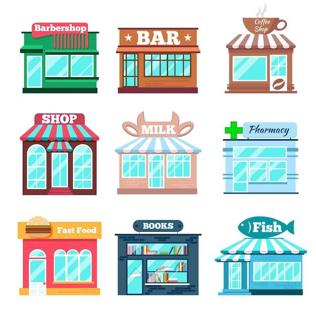 Conjunto plano de edifícios de loja e loja Vetor grátis