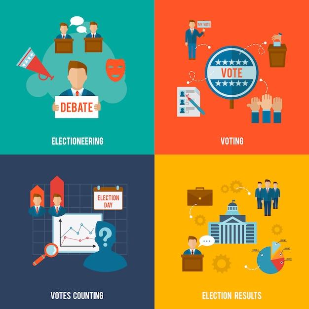 Conjunto plano de eleições Vetor grátis
