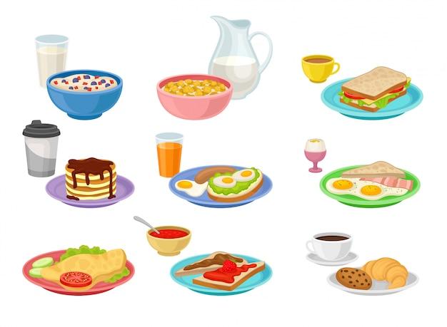 Conjunto plano de ícones de comida e bebida. saboroso café da manhã. apetitosa refeição matinal. tema de nutrição Vetor Premium