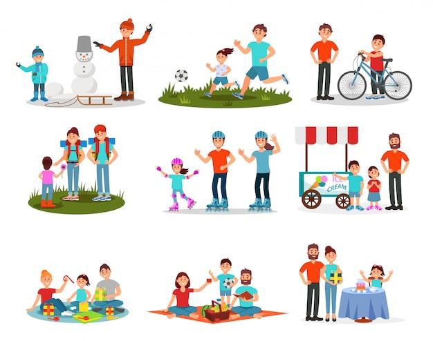 Conjunto plano de pais com filhos em diferentes ações. lazer em família. recreação ao ar livre ativa. Vetor Premium