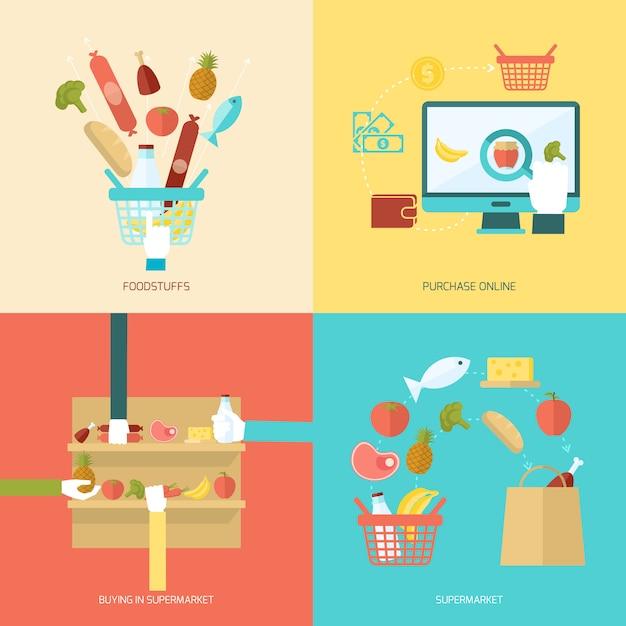 Conjunto plano de supermercado Vetor grátis