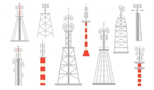Conjunto plano de várias torres de rádio Vetor grátis