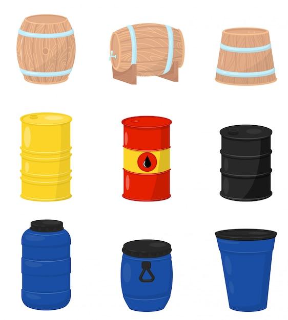Conjunto plano de vários barris. recipientes de madeira para cerveja ou vinho, tanques de água de plástico, tambor de metal com óleo bruto Vetor Premium